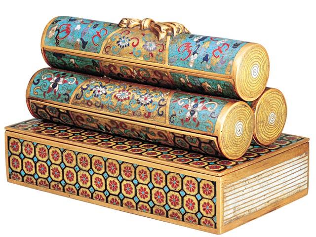 掐絲琺瑯書卷三層套盒