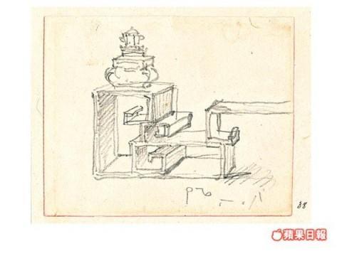 十九世紀畫家G.Chinnery古玩架速描