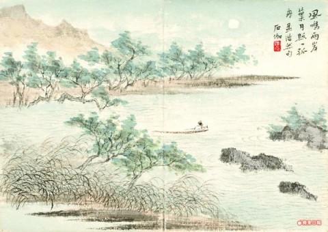 風鳴兩岸葉,月照一孤舟